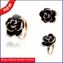high quality popular black folwer ring the finger