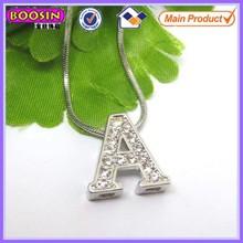 Elegant 10mm rhinestone sliding metal charm letters #14910