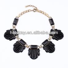 Fashion bakelite black resin fanned leaf necklace crystal jewellery necklace