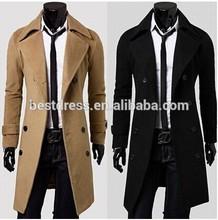 mens fashion 2014 Winter casual men's Overcoat Wholesale unique slim outerwear long design double breasted suit wool coat
