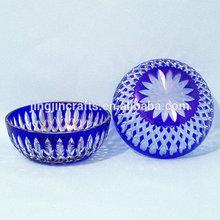 Bohemian Czech cobalt blue hand cutting glass plate some in stock