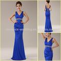 Foto real yz0010 heavy beading faixa sexy v- pescoço real azul vestido de noite