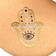 New arrival fashion beach tattoo party tatto sticke glow gold flash temporary tattoos