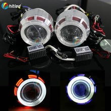 """2.5"""" hid projector headlight angel eye with h1 hid bulb double ccfl angel eyes for h1 h4 h7"""
