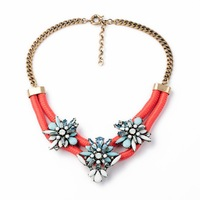 Fashion Jewelry Red Satin Rope Double Flower Necklace