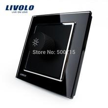 Livolo cavaliere nero cristallo pannello ac 110~250v vl-w291g-11 interruttore della luce dimmer