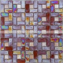 Iridescent dark amber glass brick mosaics wall tile with lattice feature