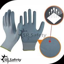 SRSAFETY 13 gauge knitted nylon coated micro foam nitrile coated gloves