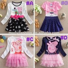 New 2014 Autumn Girls Colorful Stripe Long Sleeve Cotton Peppa Pig Dress