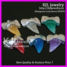 Gzkjl- ct0393 nuovo arrivo gioiello di pietra misto 6 colori grande reale agata druzy dente di squalo denti ciondoli in argento placcato
