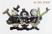 Polyresin Christmas Xmas Triple Snowman Joy Block Decorations