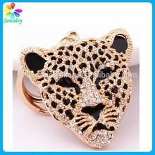 The America Leopard Tiger Charm Keychain Rhinestones Animal Shape Jaguar Keychain Key Ring