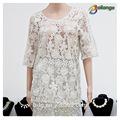 Bailange& blusas tops tipo de produto de renda blusa nova moda oco fora das mulheres blusa chiffon