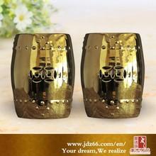 Elegant golden Chinese garden porcelain stools