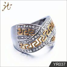 New Fashion Full Diamond Gold X Great Wall Pattern Ring