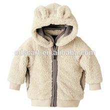 white baby unisex double waer plush coat with animal ear wholesale children brand clothing