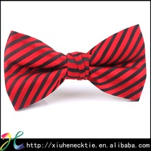 Striped black and red bow tie