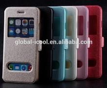 Flip Window Design for apple for iphone 4 4S leather case Sparkling color