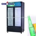 Equipamento do supermercado refrigeração fabricante frente dupla porta de vidro freezer vertical, com rodas