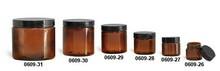 0.5oz 1oz 2oz 4oz 8oz 16oz Amber Glass Straight Sided Jars with Black Smooth Plastic Lined Caps