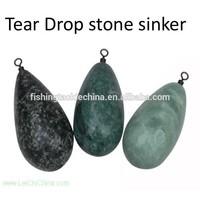 Tear drop stone fishing sinker