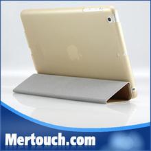 3 fold stand silk leather + transparent PC case for apple ipad mini 2