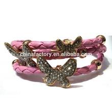 Wholesale Popular butterfly Decorated follie wrap around leather bracelet