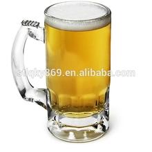 Machine made glass mug drinking beer with handle glass cup mau made in China wholesale handle glass cup mug