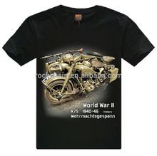 New 2014 100% Cotton Tee T-shirt Men's WORLD WAR II Motor Tricycle 3D Printed Short Sleeve Casual shirt t shirts mens 3d t-shirt