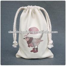 Made in China printed custom eco drawstring bag cotton