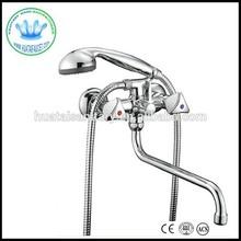 Russia dual handle wall mounted long spout bathtub faucet