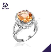 Refined silver bijoux orange cz cocktail ring aaa