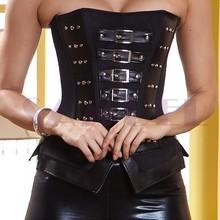 w1508 leather steel boned corset