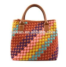 new trendy wholesale fashion bags ladies weave designer handbags, PU woven tote bag,women's handbag product china supplier OEM