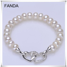 8-9mm AAA flat/button love freshwater pearl bracelet with 925 silver findings