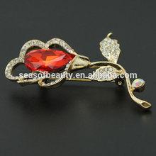 2014 Fashion Crystal Brooch ,Wedding Brooch Jewelry,Metted Golden
