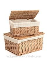 Eco-friendly fine wicker basket with lid