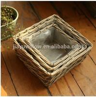 100%Handmade Natural plastic lined wicker baskets for plants flower plant pot flower plant basket