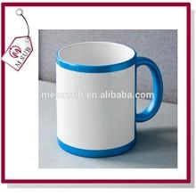 Hot Sale 11oz Printable Rim Color Mugs, Sublimation Ceramic Mug for Children