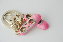 Beautiful pink metal dance shoe keychain