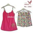 floral impressão camisa e short pijama para a mulher