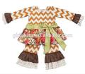 Marca refilmagem crianças do Vintage de ação de graças da férias Cheron Top e calça conjuntos de roupas de bebê