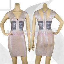 Graceful mature women eveing dress v neck bodycon bandage dress