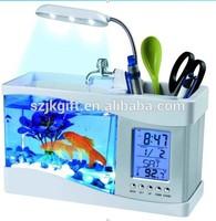LED light USB Mini acrylic Fish Tank with LCD Calendar clock & penholder function
