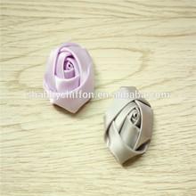 2pcs Shabby Chic Baby Doll lavender grey Satin Ribbon Rose Flower Applique Hair Bow