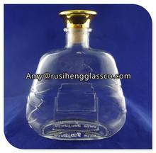Clear decorative glass storage wine bottles