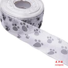 2' dog footprints printed tulle ribbon