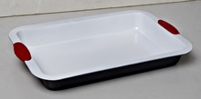 Ceramic coating rectangular roaster pan,with Silicone handle,RB--026