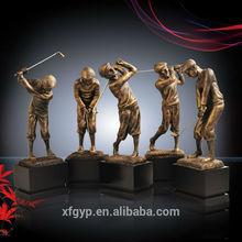 Antique bronze resin figurine golfer