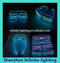 HOT!El Wire Light Flashing Neon Blue LED Black Frame Party Shutter Rave Glasses